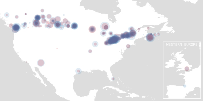 Data visualization of goals and assists from Canadian NHL hockey players based on geographic birthplace