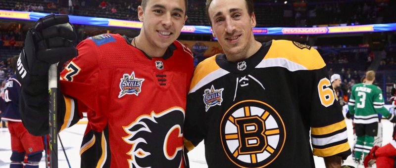 Johnny Gaudreau and Brad Marchand pose for a picture at the All Star Game in Columbus
