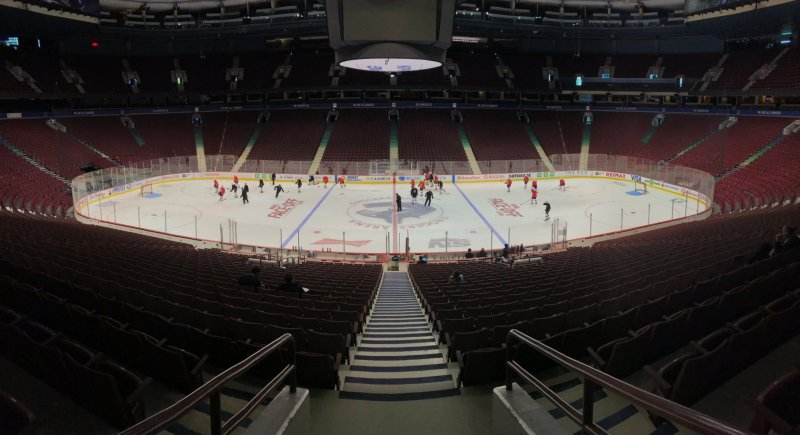 Calgary Flames practising at the Rogers Arena prior to their 2018-19 season opener on October 3, 2018.