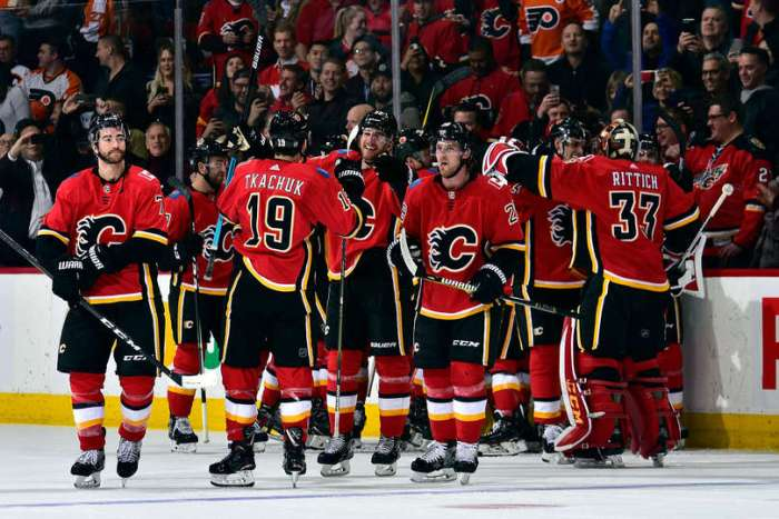 Matthew Tkachuk #19 of the Calgary Flames and teammates celebrate their 6-5 overtime win against the Philadelphia Flyers after an NHL game on December 12, 2018 at the Scotiabank Saddledome in Calgary, Alberta, Canada.