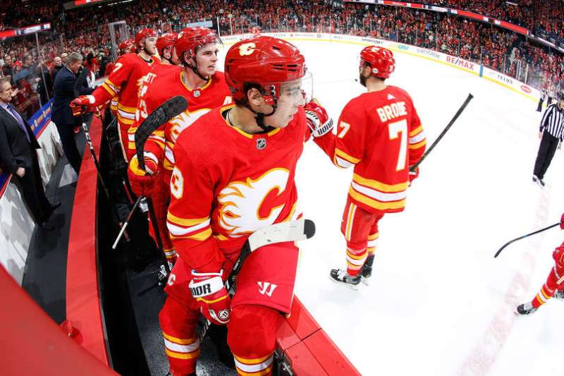 CALGARY, AB - JANUARY 18: Johnny Gaudreau #13 and teammates of the Calgary Flames celebrate a goal against the Detroit Red Wings during an NHL game on January 18, 2019 at the Scotiabank Saddledome in Calgary, Alberta, Canada. (Photo by Gerry Thomas/NHLI via Getty Images)