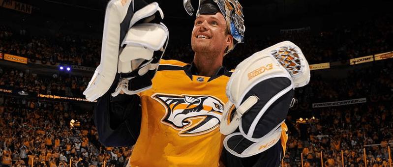Pekka Rinne celebrates a win in Nashville