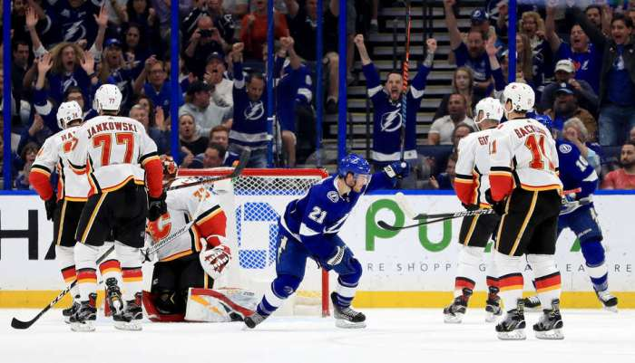 TAMPA, FLORIDA - FEBRUARY 12: Brayden Point #21 of the Tampa Bay Lightning celebrates a goal during a game against the Calgary Flames at Amalie Arena on February 12, 2019 in Tampa, Florida. (Photo by Mike Ehrmann/Getty Images)