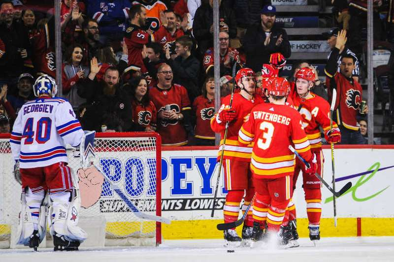 CALGARY, AB - MARCH 15: Matthew Tkachuk #19 (R) of the Calgary Flames celebrates with his teammates after scoring against Alexandar Georgiev #40 of the New York Rangers during an NHL game at Scotiabank Saddledome on March 15, 2019 in Calgary, Alberta, Canada. (Photo by Derek Leung/Getty Images)