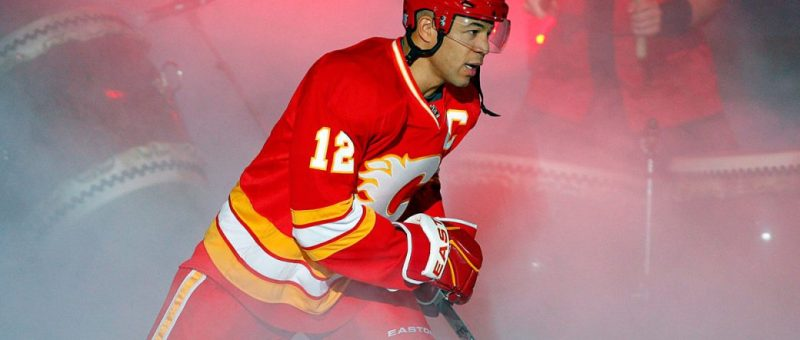 Calgary Flames captain Jarome Iginla takes to the ice. (Jeff McIntosh/CP)