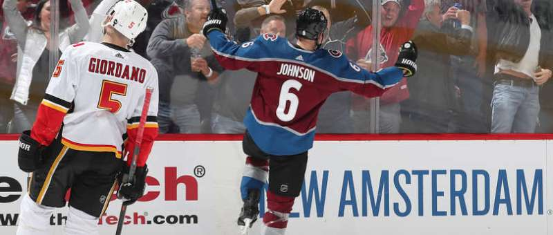 DENVER, CO - APRIL 15: Erik Johnson #6 of the Colorado Avalanche celebrates after scoring a goal against the Calgary Flames in Game Three of the Western Conference First Round during the 2019 NHL Stanley Cup Playoffs at the Pepsi Center on April 15, 2019 in Denver, Colorado. The Avalanche defeated the Flames 6-2. (Photo by Michael Martin/NHLI via Getty Images)