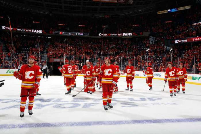 CALGARY, AB - APRIL 19: Teammates of the Calgary Flames acknowledge the crowd after Game Five of the Western Conference First Round during the 2019 NHL Stanley Cup Playoffs against the Colorado Avalanche on April 19, 2019 at the Scotiabank Saddledome in Calgary, Alberta, Canada. (Photo by Gerry Thomas/NHLI via Getty Images)