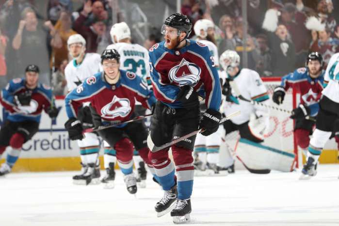 DENVER, CO - MAY 06: J.T. Compher #37 of the Colorado Avalanche celebrates after scoring a goal against the San Jose Sharks in Game Six of the Western Conference Second Round during the 2019 NHL Stanley Cup Playoffs at the Pepsi Center on May 6, 2019 in Denver, Colorado. (Photo by Michael Martin/NHLI via Getty Images)