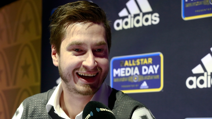 David Rittich answers questions on media day at the 2020 NHL All-Star Game