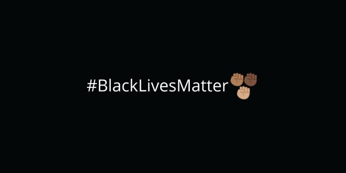 #BlackLivesMatter hashtag with Twitter emoji for Black Lives Matter.