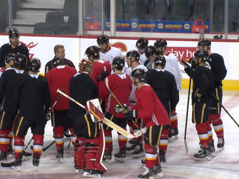 The Calgary Flames returned to practice after the NHL paused for the COVID-19 pandemic
