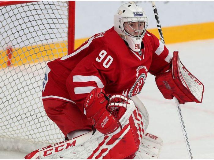 Daniil Chechelev, Russian hockey goaltender. Photo by Kuzmin Yury/KHL