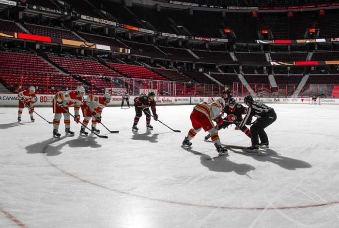 OTTAWA, ON - FEBRUARY 27: A general view of a face-off between the Ottawa Senators and the Calgary Flames at Canadian Tire Centre on February 27, 2021 in Ottawa, Ontario, Canada. (Photo by Andre Ringuette/NHLI via Getty Images)